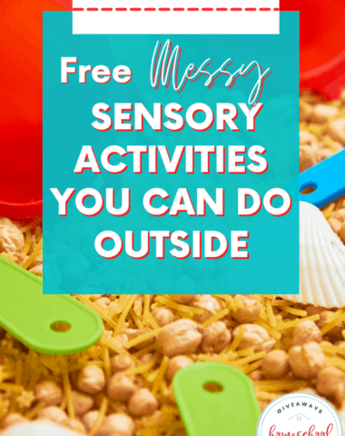 messy sensory items to play outside with text overlay