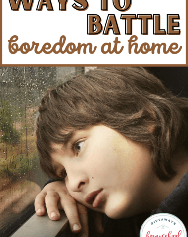 child bored looking out window on a rainy day with text overlay