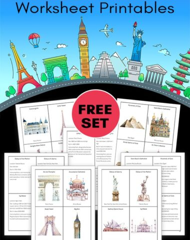 famous landmarks clip art with pages of landmark cards