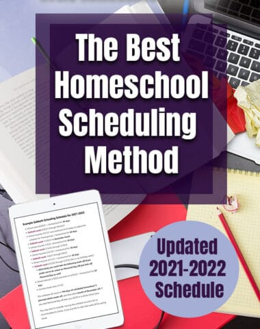 desk with planning resources and text overlay best homeschool scheduling method