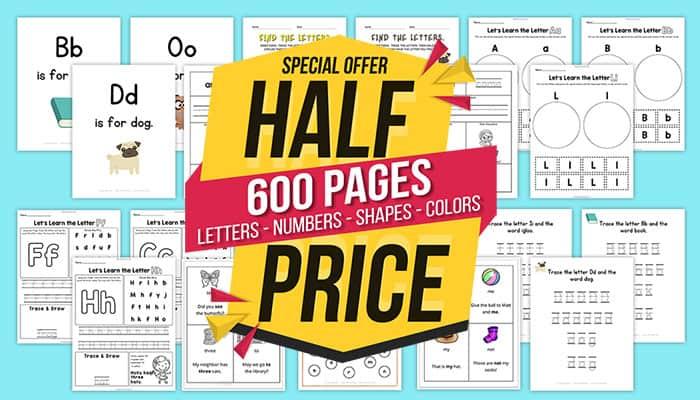 Preschool and Kindergarten Worksheets with a sale banner half price